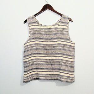 Artisan NY Linen Sleeveless Striped Tank Top M